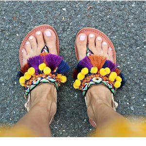 Skechers colorful fringe & Pom Pom sandals